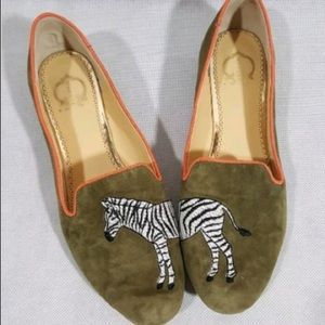 Zebra Smoking Slippers LOAFERS by C Wonder SHOES